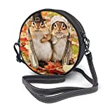 BAODANLA Bolso redondo mujer Round Crossbody Bag Thanksgiving Squirrel Handbag Purse Single Shoulder Bag Sling Bag