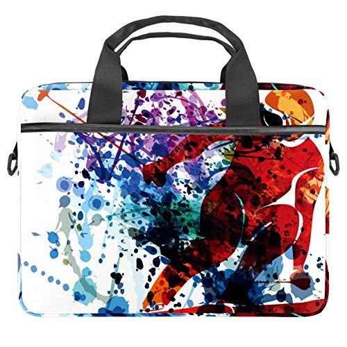 Watercolor Silhouette Skier Laptop Tasche Canvas Muster Aktentasche Sleeve Laptop Schulter Messenger Bag Hülle Sleeve für Apple MacBook Laptop Aktentasche