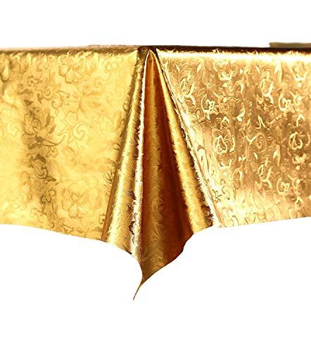 Vinylla, tovaglia cerata in PVC con motivo arabo, facile da pulire, colore oro, PVC, Gold, Small(70'x52')