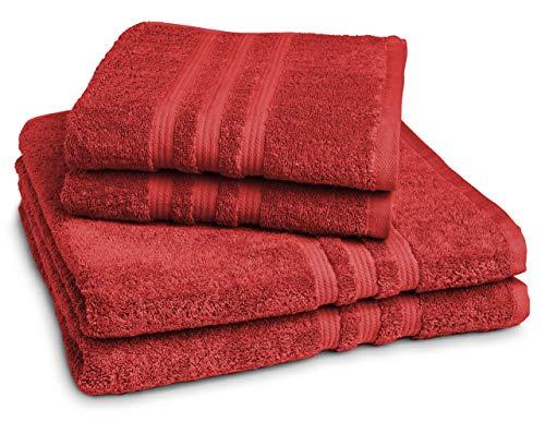 Castell by Sleeping 100144/287/755/099-P – Juego de toallas (2 toallas de manos 50 x 100 cm, 2 toallas de ducha 70 x 140 cm), 100% algodón, algodón, rojo, 50 x 100 cm / 70 x 140 cm