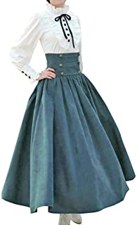 Women's High Waist Victorian Renaissance Skirt Steampunk Corset Trim Ruffled Pleated Gothic Medieval Costume Long Dress