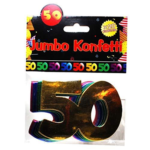 Udo Schmidt Confettis Jumbo Chiffres pour Anniversaire 50 Ans Décoration de Table Multicolore