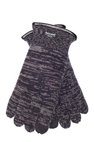 EEM Herren Strick Handschuhe FYNN mit Thinsulate Thermofutter aus Polyester, Strickmaterial aus 100% Baumwolle; schwarz/anthrazit, XL