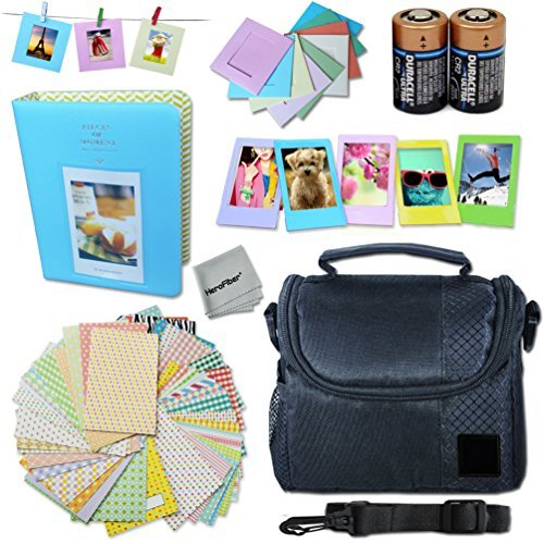 Xtech FujiFilm Instax Mini Accessories Kit f/Fujifilm Instax Mini 70, Mini70, Mini 70 White, Mini 70 Blue, Mini 70 Yellow Includes: Assorted Frames + Fitted Case + Album + 2 CR-2 Batteries + More
