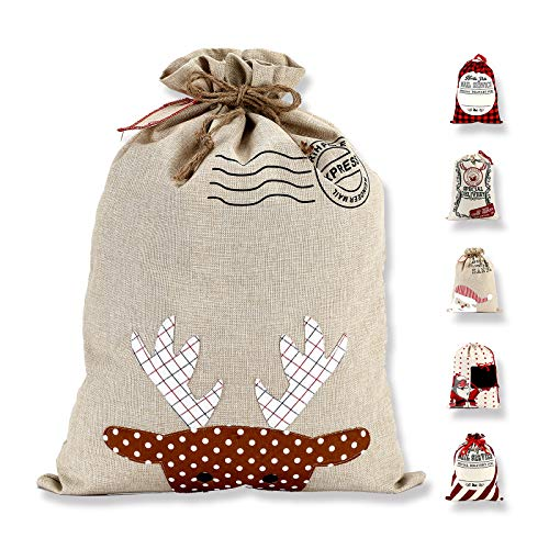 LessMo Bolsa de Lona de Santa Saco de Navidad, Bolsa Grande de Lona con cordón, Bolsa de Algodón Favores de Fiesta para Almacenamiento de Paquetes de Navidad Grandes