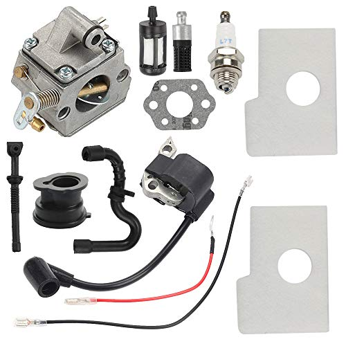 Hayskill MS170 Carburetor with Ignition Coil Air Fuel Filter Tune Up Kit for Sthil 017 018 MS180 MS180C MS170C Chainsaw Carb Replace C1Q-S57A C1Q-S57B 1130 120 0603