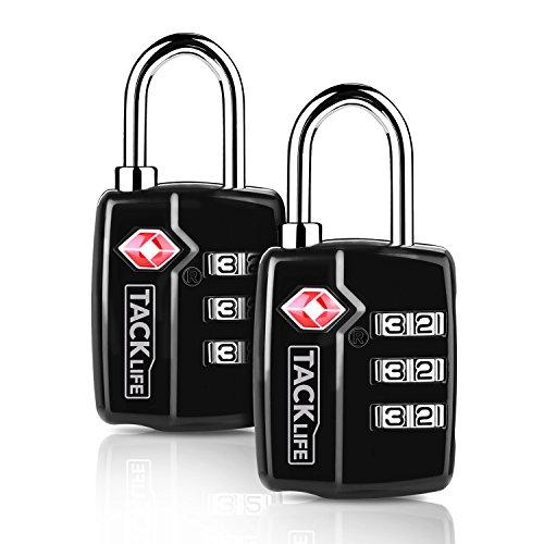 TACKLIFE-Lucchetto per valigie combinazione,2 PEZZI Lucchetti per bagagli di sicurezza doganale TSA 3 cifre Combinazione di lucchetti a codice ecc.2 PEZZI-HCL3A