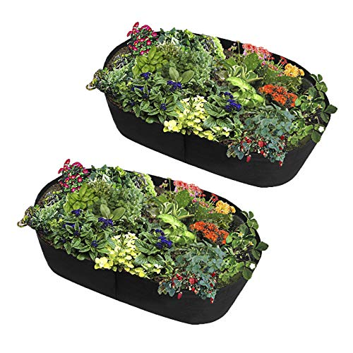 LWAN3 2pcs Fabric Raised Planting Bed, 40cm High Rectangle Plants Grow Bag,...