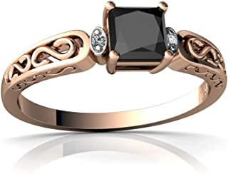 14kt Gold Black Onyx and Diamond 4mm Square filligree Scroll Ring