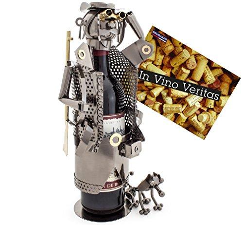 Brubaker Wein Flaschenhalter Jäger - Flaschenständer Skulptur aus Metall mit Geschenkkarte - Silber Weingeschenk Höhe 33 cm
