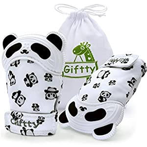 crib bedding and baby bedding baby teething mitten panda hand teether soothing glove with baby toothbrush & pacifier clip, teething toy with crinkle sound, multi textured wearable silicone teether for infants 0-9m (panda)