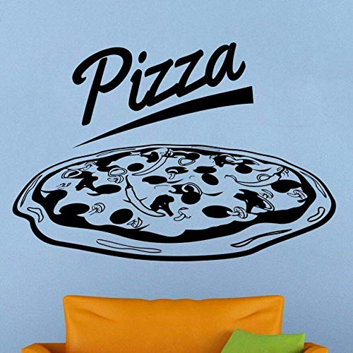 Pizzeria Logo Wand Vinyl Aufkleber Pizza Schaufenster Aufkleber Abnehmbare Pizza Shop Dekoration Restaurant Wandbild Vinyl Kunst 84X57 Cm