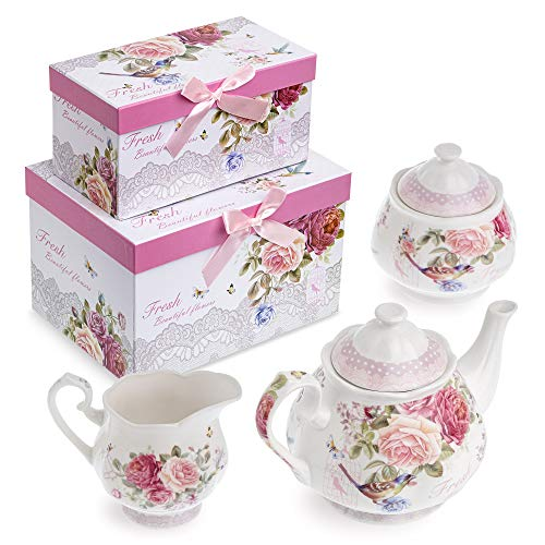 Porzellan-Teekannen-Set, Teekanne, Zuckerdose und Milchkännchen, Shabby Chic, Vintage, Blumenmuster, in Geschenkbox Vogel Rose Schmetterling