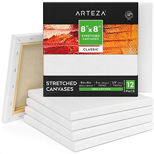 ARTEZA Lienzos blancos estirados e imprimados | 20,3x20,3 cm | Pack de 12 | 100% algodón | Lienzos de pintura acrílica, óleo y medios húmedos | Para artistas profesionales, aficionados y principiantes
