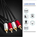 Yeung Qee 2RCA Male to 2RCA Male Stereo Audio Cable 1.8M,Dual Shielded Gold-Plated RCA Stereo Cable,Suitable for Home Theater, Amplifier, HDTV, Game Console, Hi-Fi System. … (1.8m/6ft)