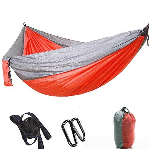 Dewanxin -ImFreien Ultra léger Voyage Hamac de camping Charge maximale 300 kg 100 % nylon respirant Séchage rapide 2 x mousquetons Premium 2 x poignées en nylon 300 x 200 cm Gris Orange
