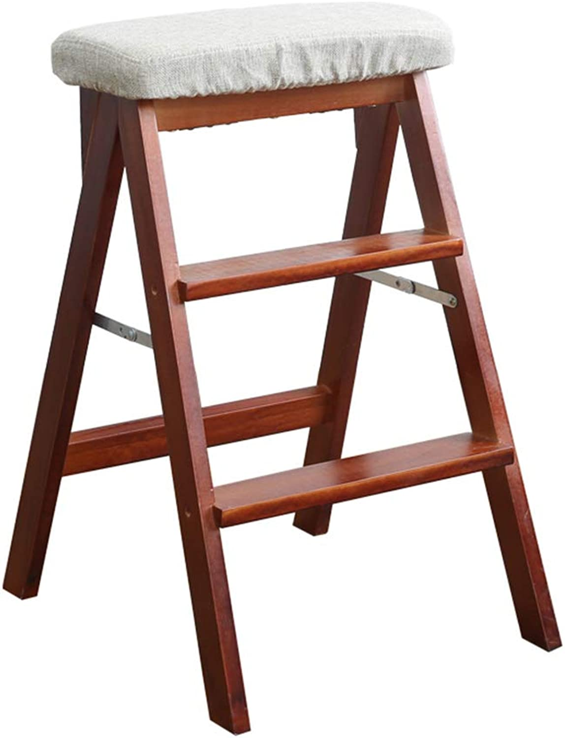 LIXIONG Folding Ladder High Stool Three Step Ladder Chair Multipurpose Solid Wood, 170 Kg Load Capacity (color   Linen, Size   48x42x67cm)
