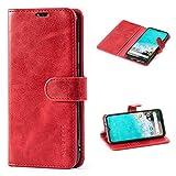 Mulbess Handyhülle für Xiaomi Mi A3 Hülle Leder, Xiaomi Mi A3 Handy Hüllen, Vintage Flip Handytasche Schutzhülle für Xiaomi Mi A3 Hülle, Wein Rot