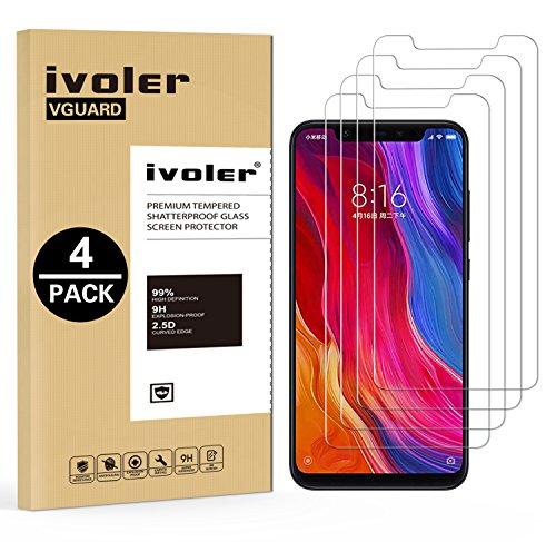 ivoler [4 Stücke] Panzerglas Schutzfolie für Xiaomi Mi 8 / Xiaomi Mi 8 Pro, 9H Festigkeit, Anti- Kratzer, Bläschenfrei, [2.5D R&e Kante]