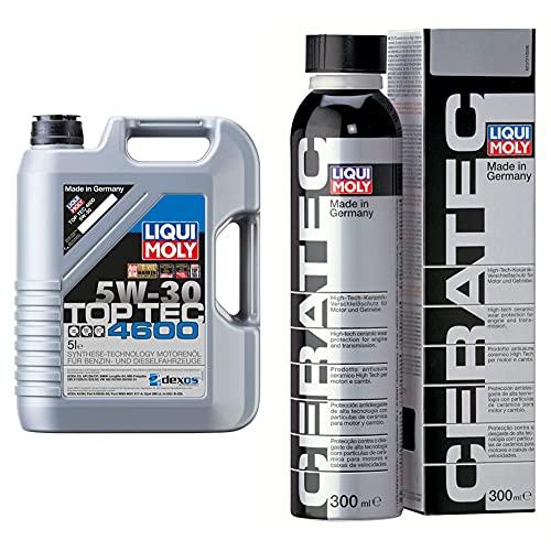 Liqui Moly 2316 Aceite De Motor, Top Tec, 4600, 5W-30, Booklet, 5 L + 3721 Cera Tec Aceite De Motor, Naranja, 300 Ml