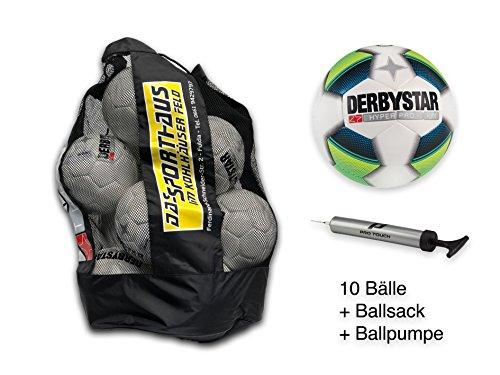 Derbystar Jugendfussball Hyper Pro Light 10er Set Gr. 5 inkl. Ballsack + Ballpumpe Sporthaus Fulda 1021-156