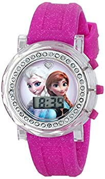 Disney Kids  FZN3580 Frozen Anna and Elsa Flashing-Dial Watch with Glitter Pink Rubber Band