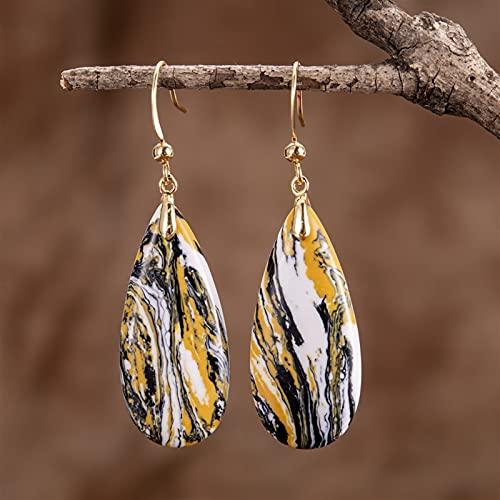 JKLJKL 1 par de Piedras flotantes Coloridas Pendientes de Gancho de Agua (Metal Color : Gold)