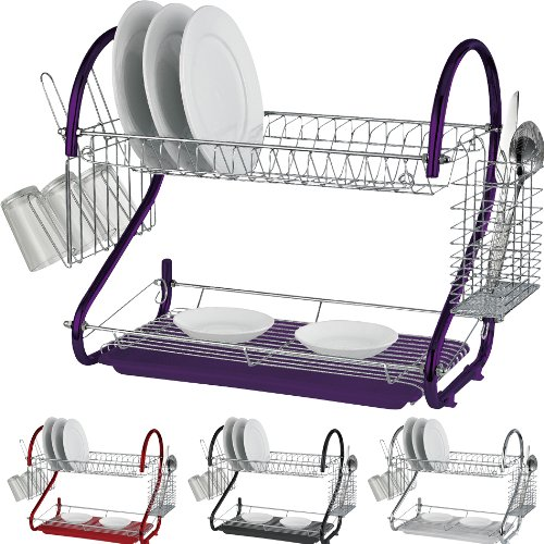 New 2 Tier Chrome Plate Dish Cutlery Cup Drainer Rack DRIP Tray Plates Holder (Black)