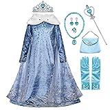 YOGLY Disfraz de princesa Elsa para niña, disfraz de reina de hielo, 2 piezas, para niños, cosplay, cumpleaños, fiestas, Halloween, carnaval Vestido + accesorios 41