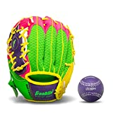 Franklin Sports Teeball Glove - Left and Right Handed Youth Fielding Glove - Meshtek Series - Synthetic Leather Baseball Glove - Ready To Play Glove - 9.5 Inch Left Hand Throw with Ball - Purple/Pink/Yellow