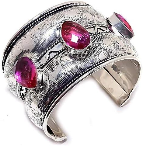 YUVI Rubellite Tourmaline Ethnic .925 Silver Jewelry Cuff Bracel