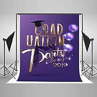 卒業生のための新しい1.5×2.1m(5x7ft)紫の写真の背景2019年のパーティークラスキャップネクタイバルーン写真背景小道具学生