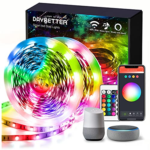 Daybetter 100ft WiFi Smart Led Lights Strip with App Control for Bedroom Decoration Work with Alexa and Google Assistant(2 Rolls of 50ft)