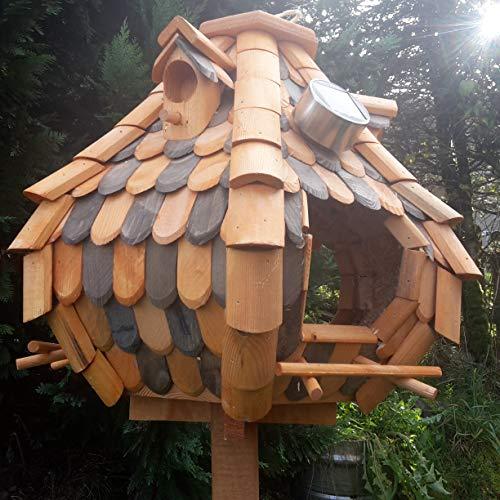Großes Luxus Solar Licht Vogelhaus Holz Bunt Vogelfutterhaus Vogelhäuschen K32S LED (Braun / Dunkelbraun) - 2