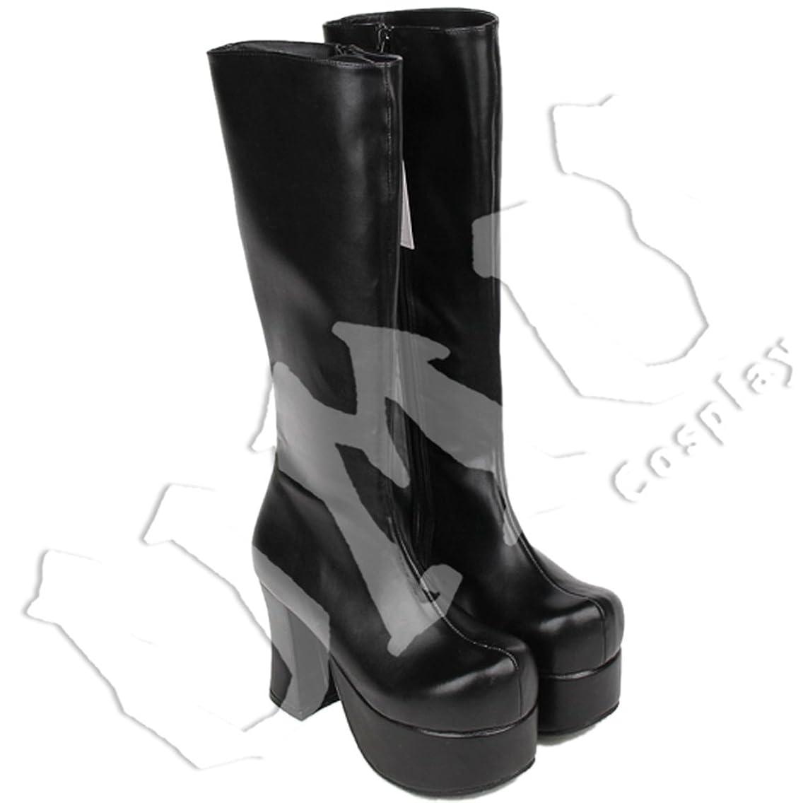 どこにも高い想像力【UMU】 足27cm LOLITA ロリータ クロ 純黒 ロング 基本 風 靴 オーダーメイド(ヒール高、材質、靴色は変更可能!)