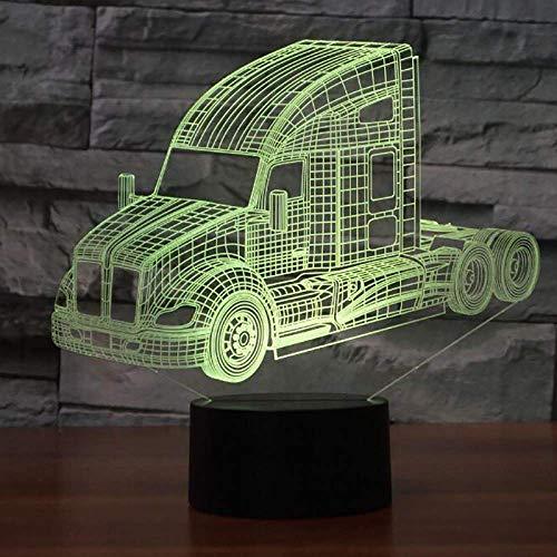 7 kleuren wisselen, 3D-leds Truck Car Night Light USB nachtkastje lamp Home Decor Light Fixture Kerstmis cadeaus voor kinderen