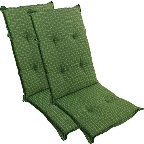DILUMA Hochlehner Auflage für Gartenstühle 120x50 cm Grün Fein Kariert 2er Set - 6 cm Starke Stuhlauflage mit Komfortschaumkern und Bezug aus 60% Baumwolle 40% Polyester - Made in EU mit ÖkoTex100