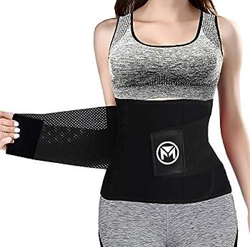 Moolida Waist Trainer Belt for Women Waist Trimmer Weight Loss Workout Fitness Back Support Belts Back Braces Black,XX-Large