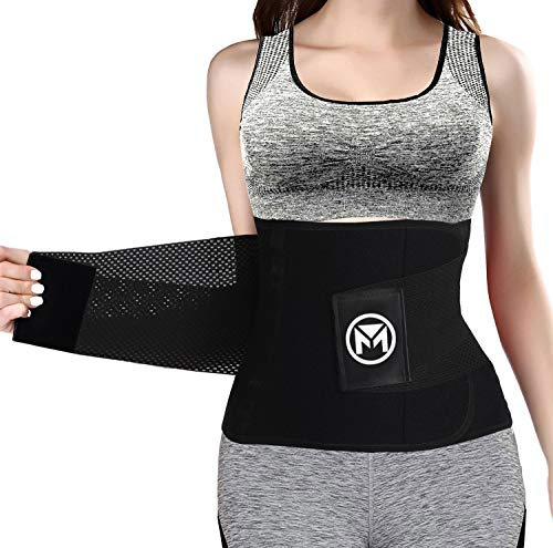 Moolida Waist Trainer Belt for Women Waist Trimmer Weight Loss Workout Fitness Back Support Belts (Black,Large)