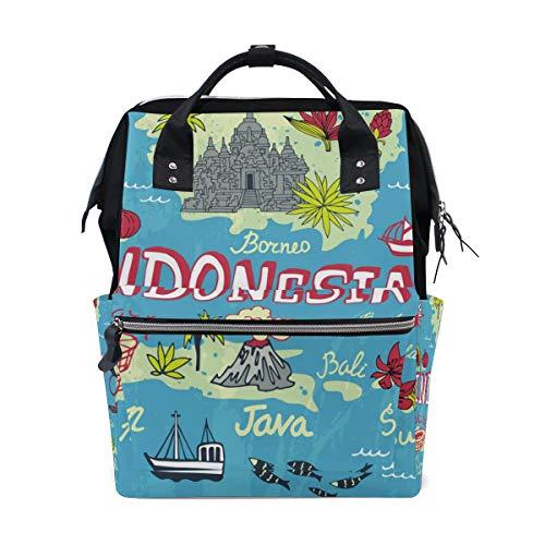 Wickeltasche, Rucksack, Karte von Indonesien, für Mütter, Papa, Reisen, Schule, Jungen, Mädchen, große Kapazität, Windel für Mütter, Männer, Frauen