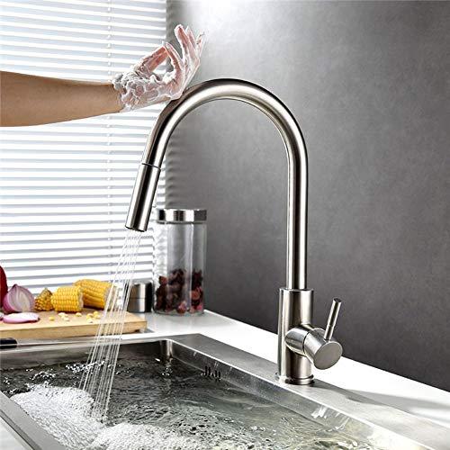 HomeLava Küchenarmatur Ausziehbar 304 Edelstahl Spültischarmatur Gebürstet Wasserhahn Küche mit intelligentem Sensor-Berührungsschalter (Nickel Gebürstet)