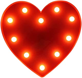 Pooqla Marquee Light up Red Heart Sign Night Light Kids Light Wedding Light LED Plastic Light up Heart Shape Love Sign Battery Operated 10