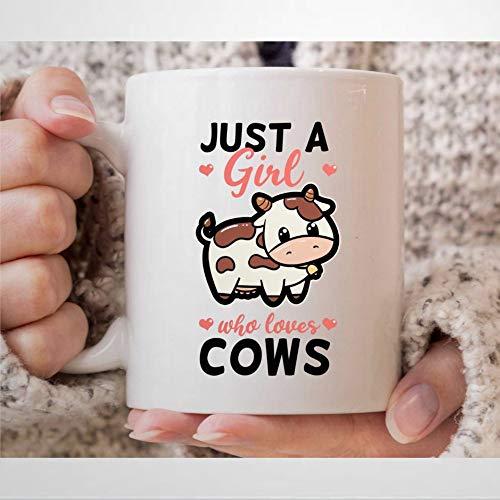 Taza de café con texto en inglés 'Just A Girl Who Loves Cow' para animales amantes de las vacas y niñas, regalo para granjeros de vaca, taza de té de 12 onzas