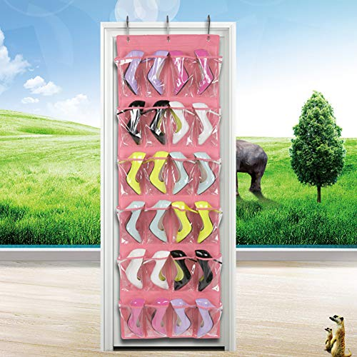 Jkhome Over The Door Hanging Shoe Organizer Rack Holder Home Non-woven Transparent Storage Bag 24 Pockets With 3 Hooks Pink