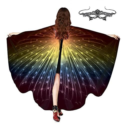 ZXCFTG Alas de mariposa para adultos, 160 x 130 cm, capa de mariposa para mujer con textura de plumas de pavo real y máscara de hada ninfa Pixie chal abrigo de capa para danza del vientre