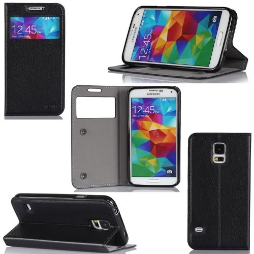 Samsung Galaxy S5 Case Protektor S-View Cover with Stand-up function - Flip Leather Folio Case / Cover Galaxy SV GT-I9700 (PU Leather luxury accessories - Black)