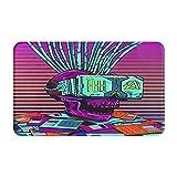 CVSANALA Antideslizante Suave Alfombra de Baño,Cyber Skull Realidad Virtual Cyberpunk Floppy Disc Wires 80s 90s,Micro Personalizado Decoración del Hogar Baño Alfombra de Piso,80 x 49 CM