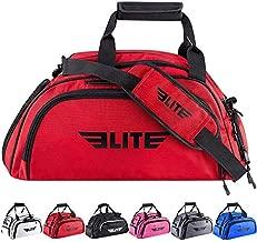 Elite Sports New Item Warrior Series Boxing Mma Bjj Gear Gym Duffel Backpack Bag, Medium, Red