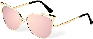 Women Sunglasses, Vintage Cateye Silver Sunglasses for Women Polarized Mirror Designer by BLUEKIKI YEUX