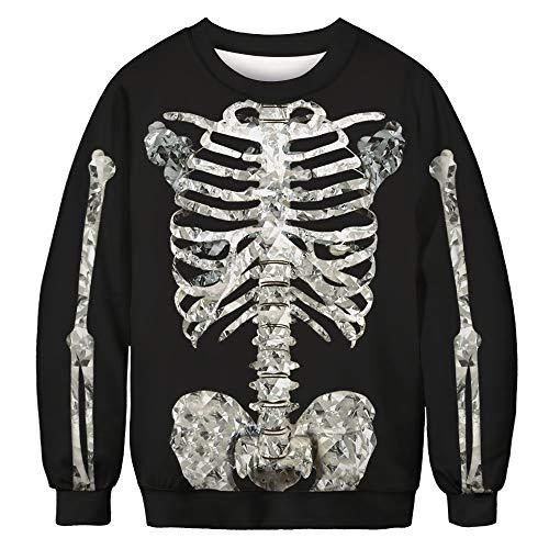 URVIP Unisex Halloween Christmas Themes 3D-Print Athletic Sweaters Fashion Hoodies Sweatshirts Skeleton BFT-022 M